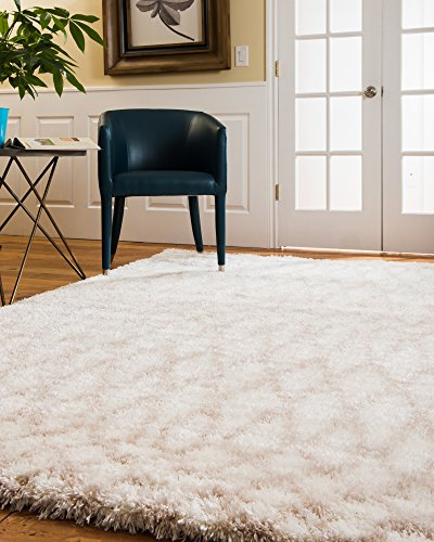 NaturalAreaRugs Prague Polyester Shag Area Rug, 2 Inches Thick Soft Pile, Durable, Luxurious, Elegant, Eco/Environment-Friendly, White (5 Feet 3 Inches X 8 Feet) by NaturalAreaRugs