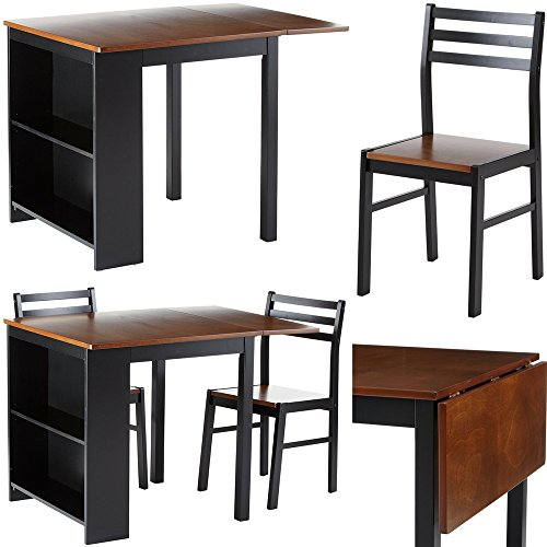 Breakfast Set with Storage Shelves Dinning Expendable Table with Two Dinette Chairs 3-Piece Nook Set Walnut Black Wooden Large Tall Modern Small Corner Kitchen Table Set for 2 eBook by Easy&FunDeals (Piece Dining 3 Breakfast Set Black Nook Corner)