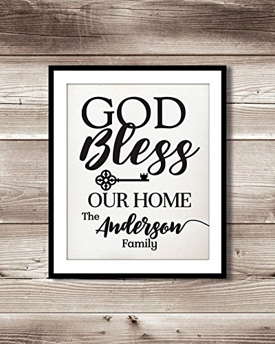♥ GOD Bless This Home And All Who Enter | Personalized Burlap Print | Housewarming Gift | New Home Closing Gift Burlap Gift ♥ (Announcement Wedding Invitation Wording)