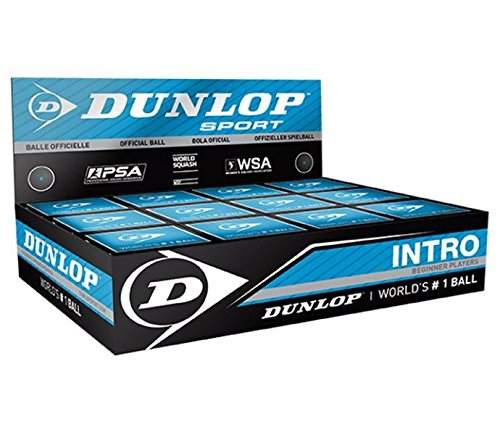 Dunlop Intro Blue Ball Squash Ball for beginner players ( 12 balls in a box)