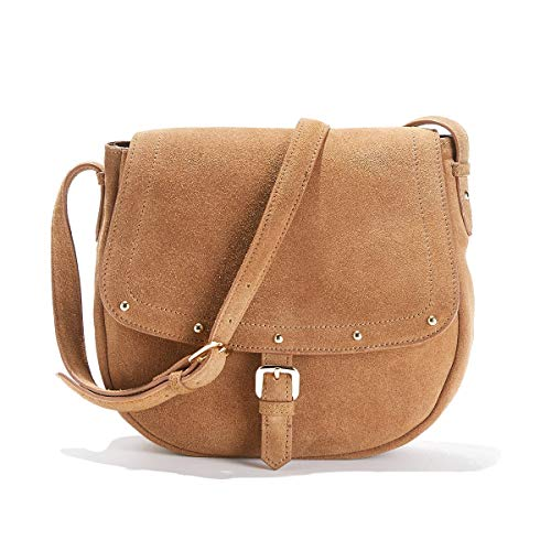 (Uniross Womens Suede Crossbody Saddle Bag With Studded Flap Brown Size One Size)