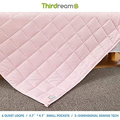 """Thirdream Cool Weighted Blanket 5lbs Kids, 3 Pieces,for All Seasons, 41""""X 60"""", Twin Size, with 2 Removable Washable Covers, Soft Minky Cover and Ice Silk Cover, Pink: Kitchen & Dining"""