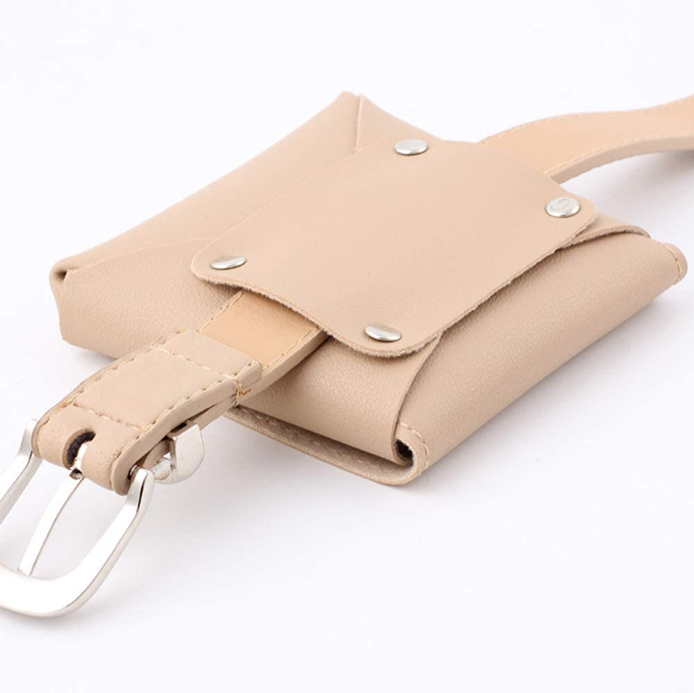 Women Leather-Belt-Fanny-Pack Adjustable Removable Belt Bags Color: Khaki