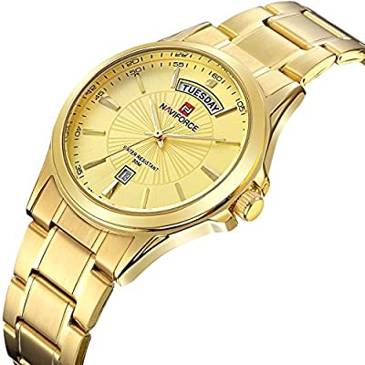 Tamlee Mens Gold Plated Analog Quartz Waterproof Stainless Steel Wrist Watch with Classic Design Calendar