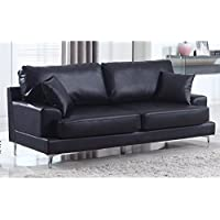 Madison Home Ultra Modern Plush Bonded Leather Living Room Sofa with Chrome Leg Detail Black