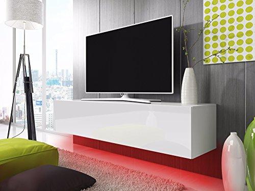 TV Schrank Lowboard Hängeboard SIMPLE mit LED Rot (weiß matt / weiß hochglanz 140 cm)