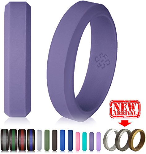 Knot Theory Silicone Wedding Ringx2605;6mm Band for Superior Comfort, Style, and Safety (Grey Pewter Purple, Size 8)