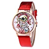 Women Quartz Watch,Hosamtel Lady Leather Band Sugar Skull Floral Analog Watch A63 (Red)