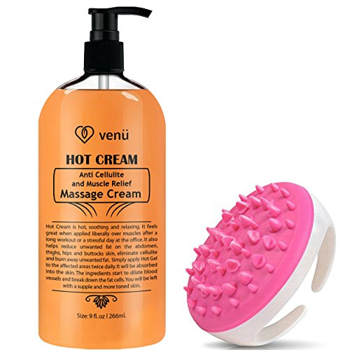 Hot Cream Anti Cellulite and Muscle Relief Cream, Muscle Massager Gel, Muscle Relaxant & Pain Relief Cream, Firms Skin Treatment - Tightens Skin, Soothes, Relaxes, 9OZ (Hotcream W/Message Scrubber)