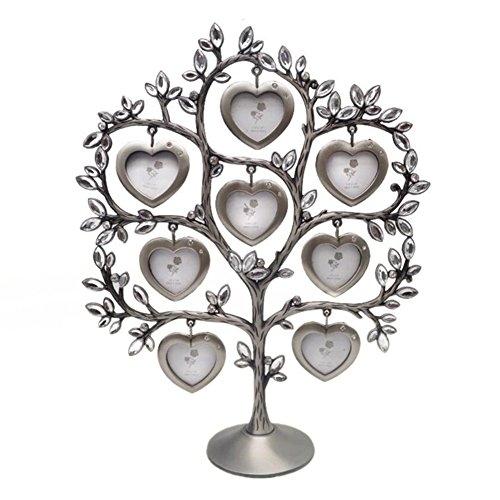 - QTMY Metal Crystal Family Tree with 8 Hanging Heart Picture Frames Collage Desk Ornaments