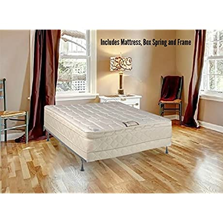 Spring Solution Long Lasting 10 Pillowtop Fully Assembled Orthopedic Back Support Full Mattress And 5 Inch Box Spring With Bed Frame Deluxe Collection