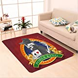 Nalahome Custom carpet kull Casino Background with Dead Skeleton Poker King Gambler Vegas Smart Game Graphic Multicolor area rugs for Living Dining Room Bedroom Hallway Office Carpet (6.5' X 10')