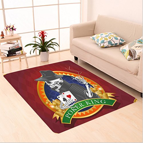 Sands Casino Las Vegas (Nalahome Custom carpet kull Casino Background with Dead Skeleton Poker King Gambler Vegas Smart Game Graphic Multicolor area rugs for Living Dining Room Bedroom Hallway Office Carpet (5' X 7'))