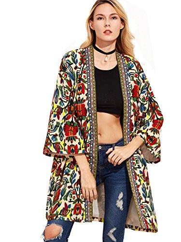 Floerns Women's Open Front Tribal Print Cardigan Thin Coat Multi L