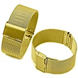 ChezAbbey Gold Milanese Mesh Stainless Steel Watch Band Replacement Watch Strap Adjustable Buckle 18mm