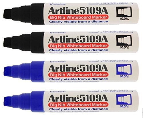 Artline 5109A Big Nib 10mm Dry Erase Extra Thick Whiteboard Markers, 4 Markers (2 Black, 2 Blue)