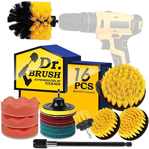 Drill Brush Power Scrubber Brush Cleaning Set 16PCS,Drill Scrub Brushes Kit with Long Attachment,Suitable for Bathroom Surfaces, Tiles, Sinks, Kitchens and Cars Yellow (Drill NOT Included)