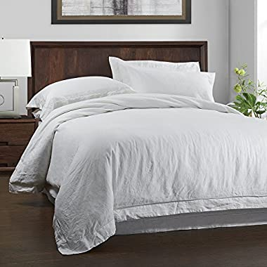 Simple&opulence 100% Linen Duvet Cover Set 3 Piece Solid Wash(King, White)