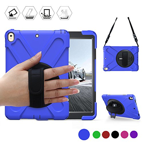 BRAECN iPad Pro 10.5 Case(2017 Model) iPad AIR 10.5 3rd Generation Case(2019 Model) Three Layer Heavy Duty Protective Case Cover with Stand/Hand Strap/Shoulder Strap for iPad Pro 10.5 inch Case-Blue