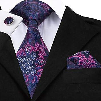 HYCZJH Conjunto de Corbatas Negras de Seda para Hombres ...