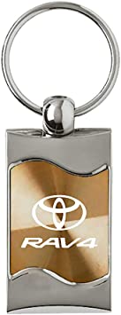 Toyota Rav4 Rectangular Gold Car Key Chain Ring Fob