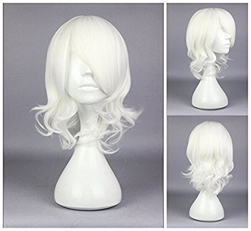 Kadiya Anime White Short Girls Cosplay Wigs Synthetic Hairs -