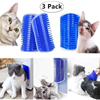 Carnatory 3 Pack Blue Cat Self Groomers Soft Wall Cat Corner Massage Combs Grooming Brush Perfect Massager Tool for Cats with Long and Short Fur