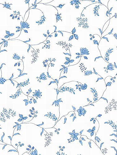 Wallpaper Designer Blue Cottage Style Floral Vine on Eggshell White ()
