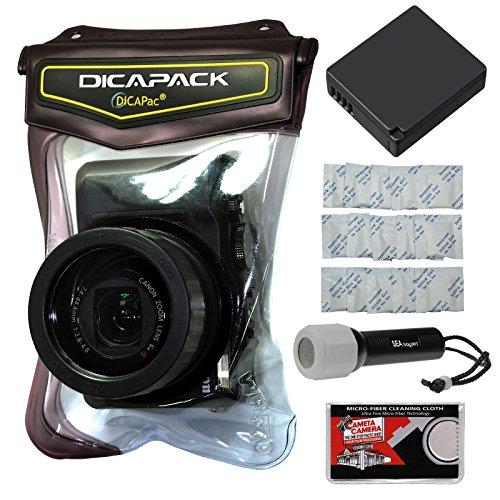 DiCAPac WP-570 Waterproof Case with DMW-BLG10 Battery + LED