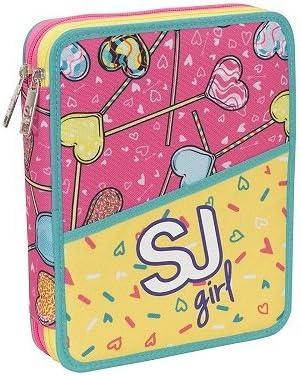 Estuche 2 cremallera Pisos Maxi SJ GIRL Seven completo para niña color amarillo rosa: Amazon.es: Oficina y papelería