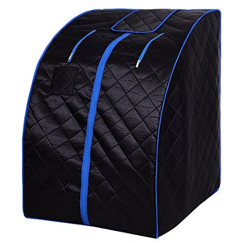 Giantex Portable Far Infrared Sauna Spa Full Body Slimming Loss Weight Detox Therapy C (Black)