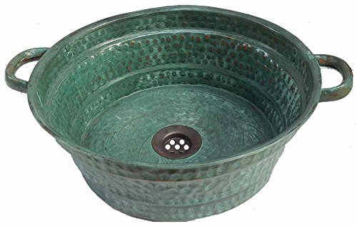 Cheap  Egypt gift shops Oxidized Verdigris Green Patina Vessel Copper Bathroom Round Design..