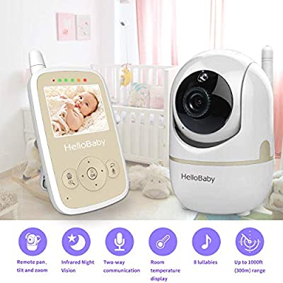Baby Monitor with Camera, Remote Pan-tilt, Infrared Night Mode, Two-Way intercom System, Rechargeable Battery, 2.4 Inch