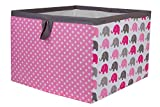 Bacati Elephants Storage Box, Pink/Grey, Large
