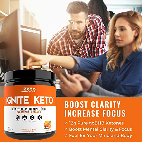 IGNITE KETO Drink - Instant Exogenous Ketones Supplement - 12g Pure BHB Salts - Fuel Ketosis, Energy, and Focus - Best goBHB Ketone Drink Powder Mix - Perfect for Low Carb Keto Diet by Keto Function (Image #3)
