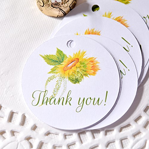 Sunflower Tags, Round Sunflower Thank You Tags, Sunflower Party Favor Tags