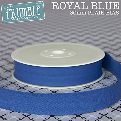 30mm Royal Blue Plain Bias 5m Roll - 30mm Bias Binding Bias Binding Bunting Tape Sewing Trim Sewing Edging Frumble