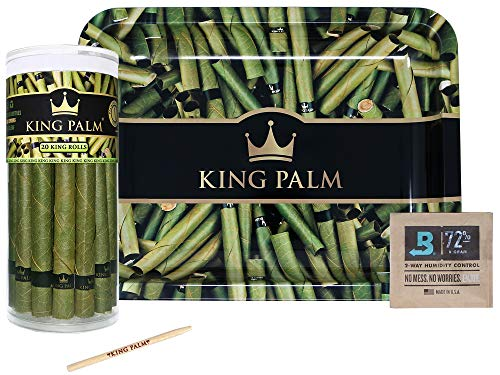 (King Palm Bundle | 20 King Size Natural Slow Burning Pre-Rolled Palm Leafs | Green Metal Rolling Tray | Humidifying Pack | Packing Stick)
