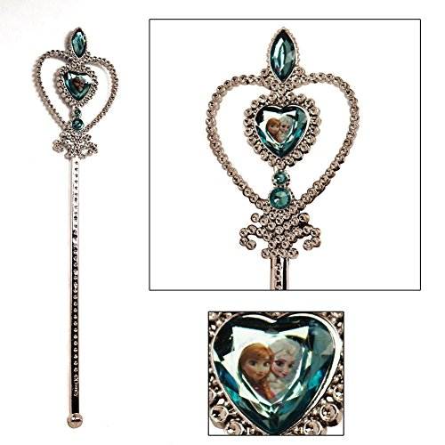 Disney Frozen Wand - Silver with Blue Elsa and Anna Heart (Elsa Wand)