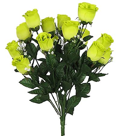Amazon 17 elegant silk roses wedding bouquet lime green 23 17quot elegant silk roses wedding bouquet lime green mightylinksfo Images