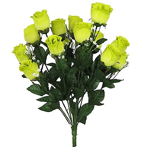 Lime green flowers amazon 17 elegant silk roses wedding bouquet lime green 23 by artificial flowers mightylinksfo