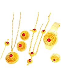 Ethiopian Gold Hair Piece Pendant Chain Earings Ring Hair Pin Bracelet Jewelry Set