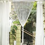 Fringe Tassel Window Door Divider Curtain Hanging String - White