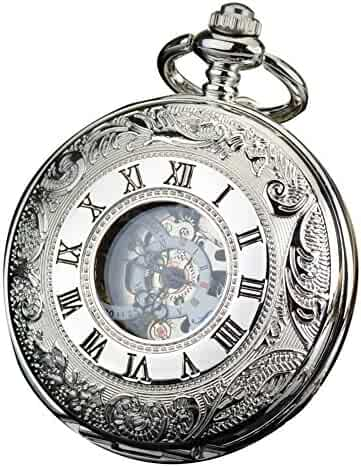 ALPS Classic Silver Roman Numerals Skeleton Hand Wind Mechanical Pocket Watch