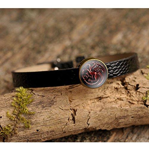 [Game Of Thrones Inspired Red Targaryen Dragon Black Leather Bracelet Glass Cabochon Charm] (Pop Art Inspired Costumes)