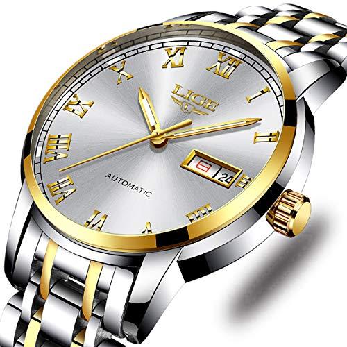 - Watches Men Fashion Sport Waterproof Analog Quartz Wristwatch Men Luxury Brand LIGE Chronograph Watch Gents Silver Stainless Steel Black Business Clock