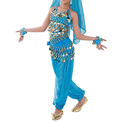 Blue Harem Girl Costume (TopTie Kid's Belly Dance Girl Halter Top, Harem Pants, Halloween Costume Set-Lake Blue-2XL)