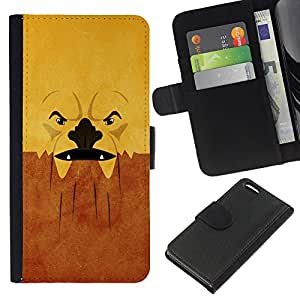 KingStore / Leather Etui en cuir / Apple Iphone 5C / Grumpy Cara abstracta