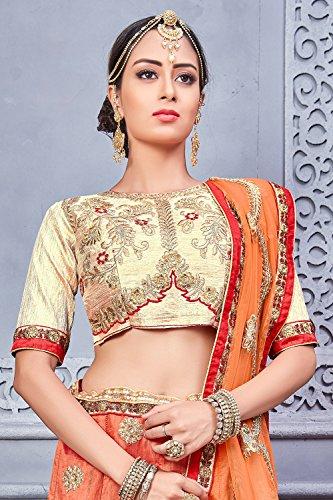 Da Facioun Concepteur Indien Partywear Lehenga Traditionnels Ethniques Orange Choli En Soie Orange, Banarsi
