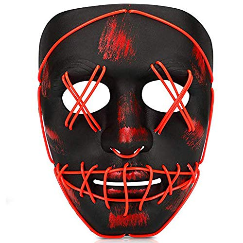 Dress Like Joker For Halloween (TGHCP-Halloween Light Up Glowing Mask Led Scary Mask Illuminated EL Wire Mask for Halloween Festival)
